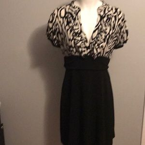 Lucy and Laurel Black and White Ruffle Neck Dress